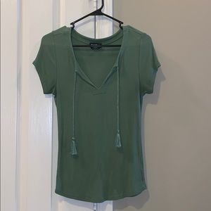 Bebe Olive Green Top with Tassels
